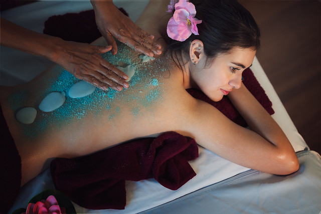 Asian lady relax in skin care aroma therapy