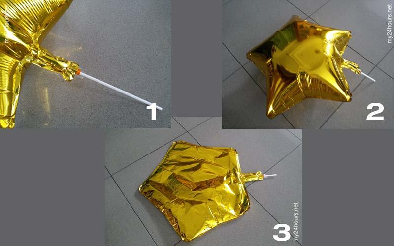 Cara mengempiskan balon foil.