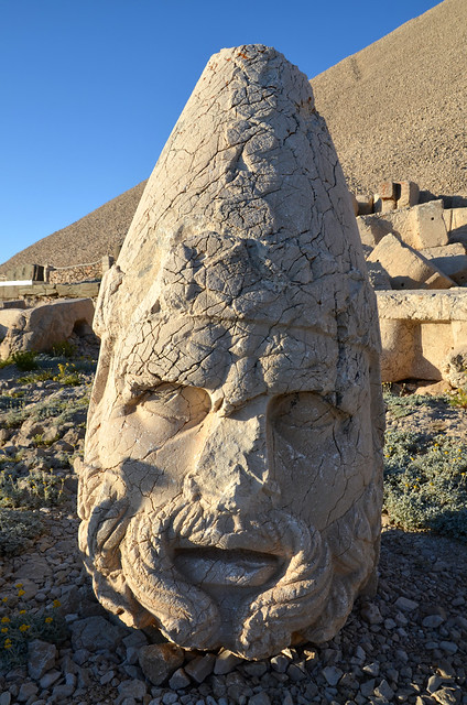 Head of Heracles Artagnes Ares on the West terrace of Nemrut Dagı, the tomb of king Antiochus I Theos of Commagene (ruled 70-31 BCE), Turkey