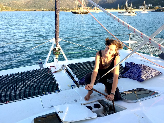 Me, anchoring at Airlie Beach. We made it!