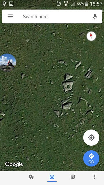 Satellite view of outcrop in Corn Hole
