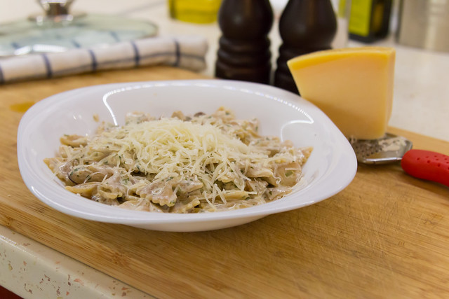 Farfalle with Funghi Porcini and White Sauce