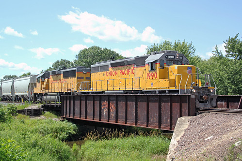 UP 1990 sits on the South Fork Lemonweir River bridge