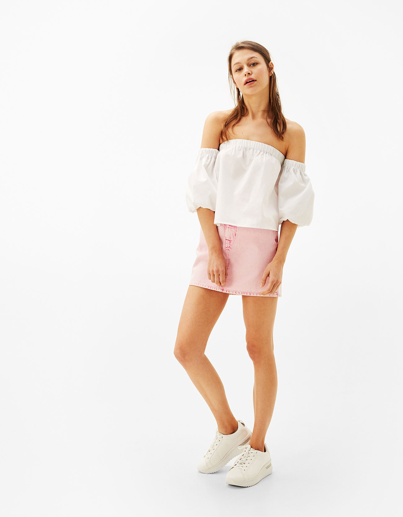 Camicia bianca spalle scoperte popeline Bershka