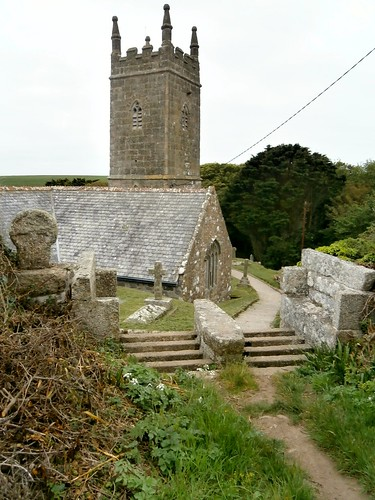 St Levan's church with coffin rest, stone seats, and old churchway cross, Cornwall 05-17