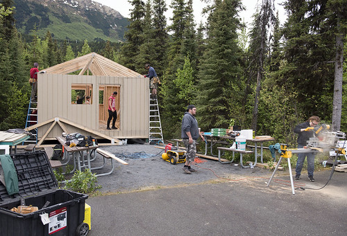 Construction Academy campers had a view of the Kenai Mountains near Cooper Landing as they worked at K'Beq'.