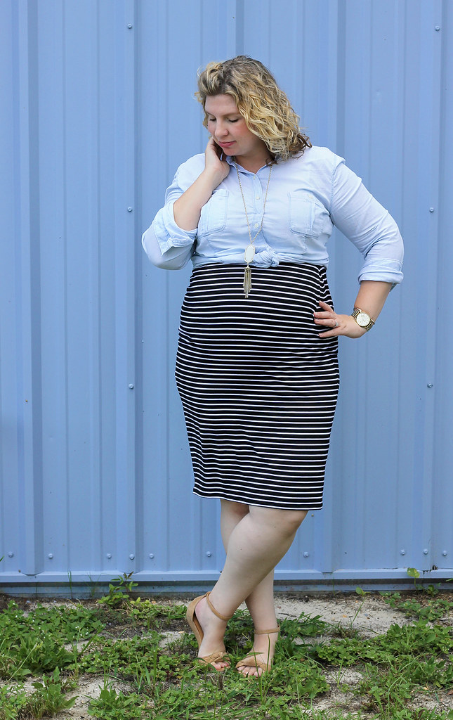 black and white pencil skirt, chambray top, nudge wedge sandals 8