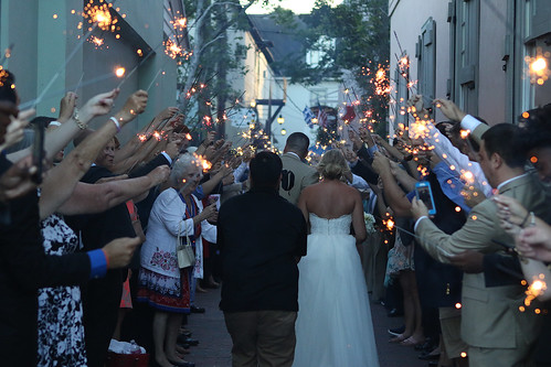 Billy & Lauren Donovan Walk the Alley Lined with Friends & Family