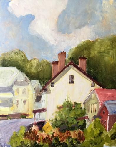 landscapepainting hudsonvalley pleinairpainting upstatenewyork oilpainting painting town house village hudsonrivernewyork rivertowns newyork coeymanslanding albanynewyork
