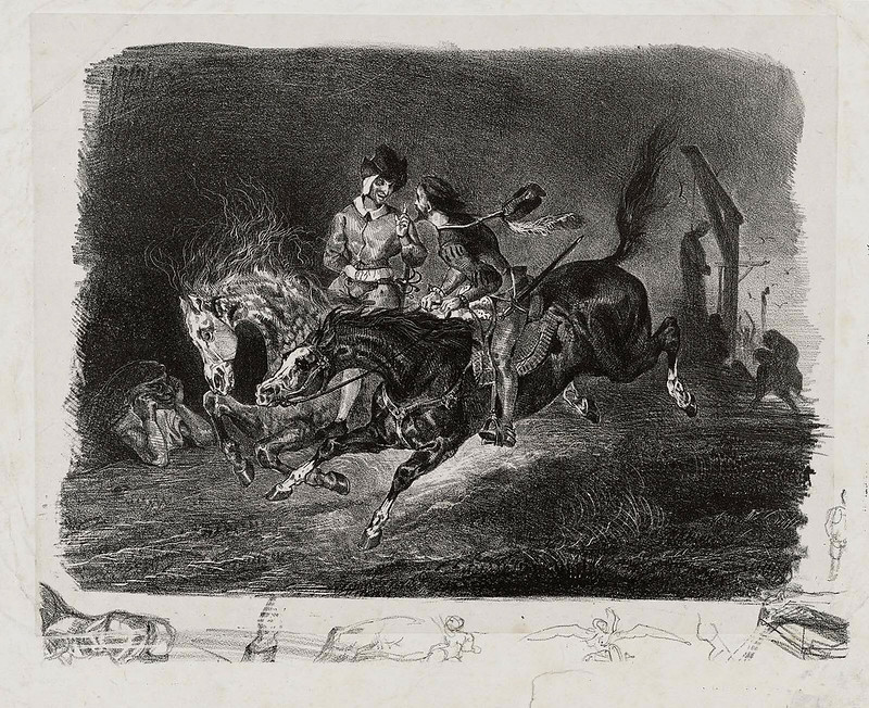Eugene Delacroix - Faust and Mephistopheles Galloping on the Night of the Witches' Sabbath, 1826-27
