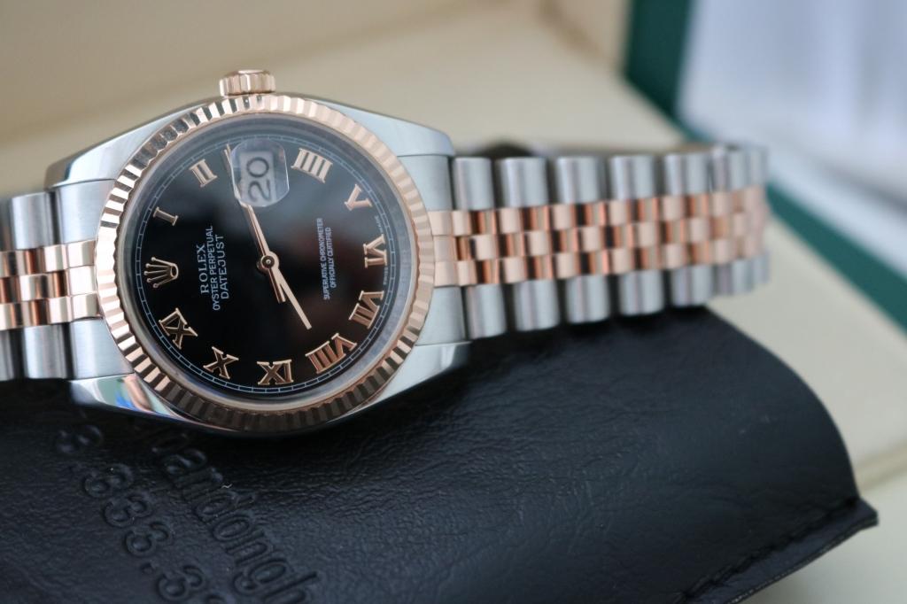 Đồng hồ rolex datejust 6 số 116231 – mặt la mã – đè mi vàng hồng – size 36