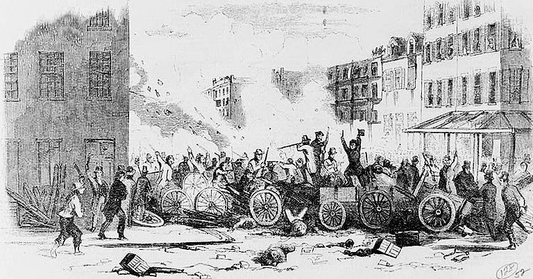 The Dead Rabbits Riot in 1857 on Bayard Street in the Five Points.