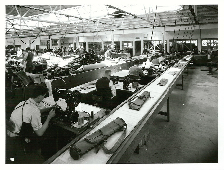Wiseman, J & Sons, Ltd., Auckland Publicity Caption: Completed golf bags at the finish of the production belt.