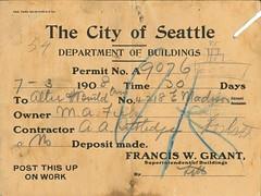 Building permit, 1908