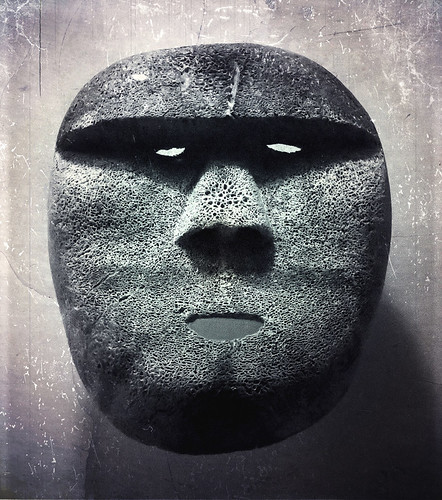 Head made of volcanic stone in Portland Art Museum