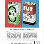 Tue, 2017-07-25 15:37 - Metal Box werer a well-known packaging manufacturer and here are who cans showing industrial products - 'Ibcol' disinfectant and the famous 'Flit' insecticide made by Esso.