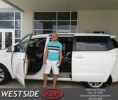 Congratulations Benito on your #Kia #Sedona from Marlon Smith at Westside Kia!