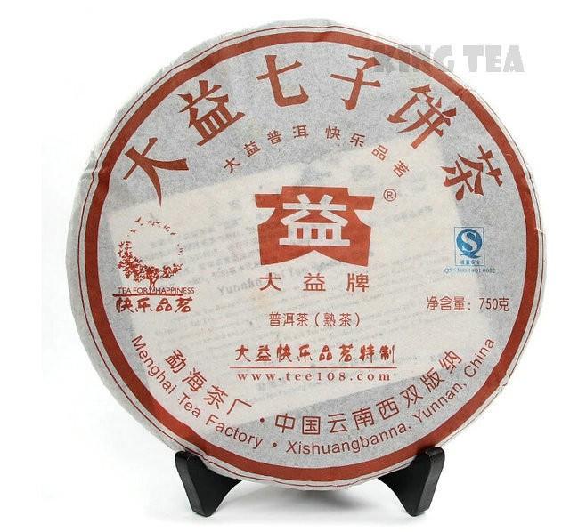 Free Shipping 2008 TAE TEA DaYi Happiness Beeng Bing Cake 750g YunNan MengHai Organic Pu'er Puerh Ripe Cooked Tea Shou Cha