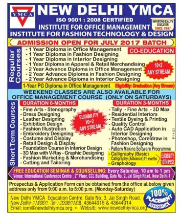 YMCA July 2017 Batch Admission