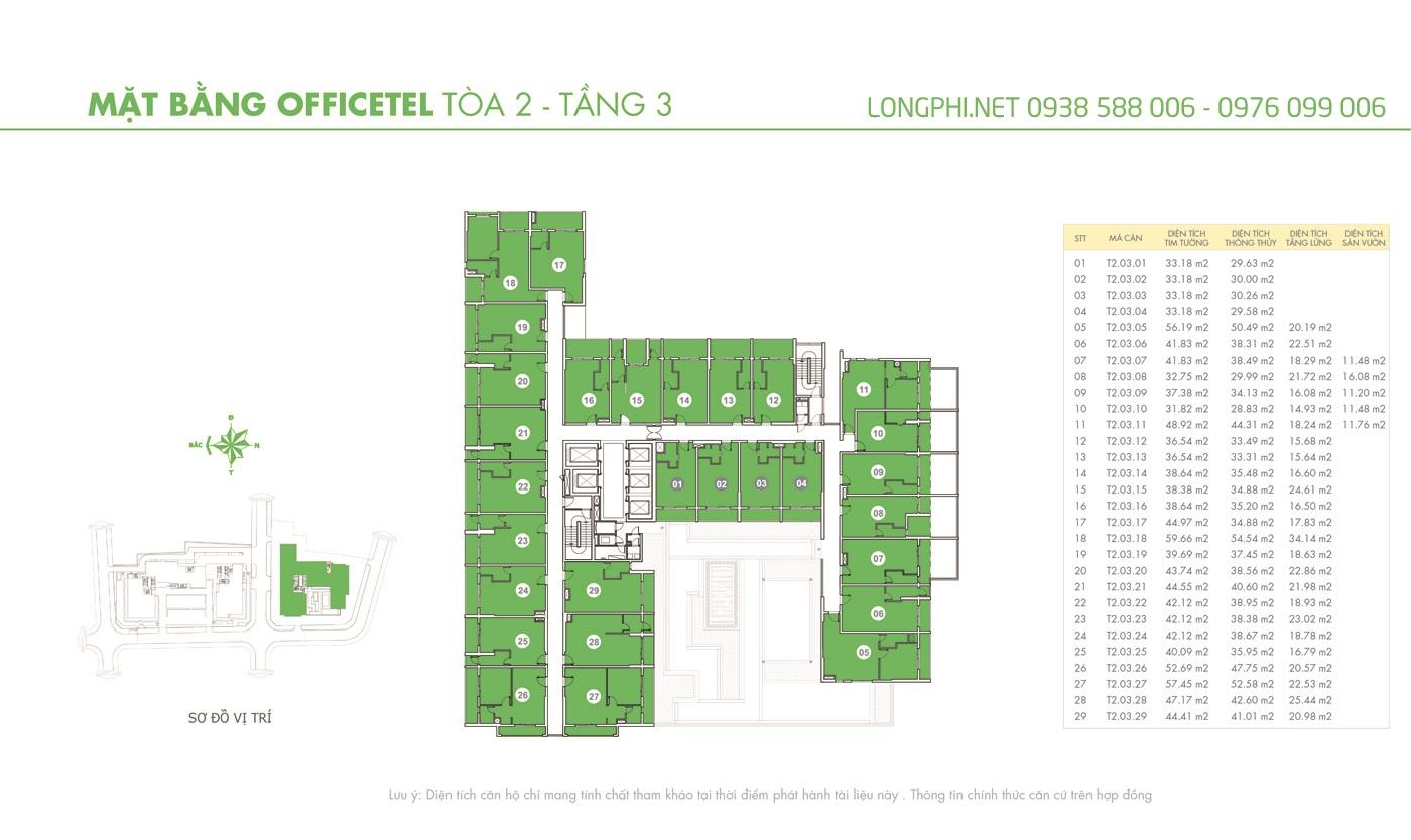 Mặt bằng căn hộ officetel M-One tầng 3 tháp T2.