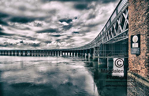 Clouds Curves and Redbricks - Tay Rail Bridge - Gothic View - Dundee Riverside - Scotland