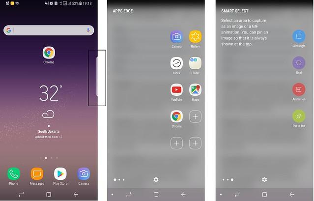 Apps Edge, kumpulan aplikasi pilihan pada layar lengkung Galaxy S8 (Liputan6.com/ Agustin Setyo W)