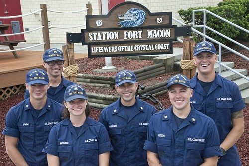 Petty Officer 3rd Class Michael Sparks (left to right), Fireman Samuel Ragsdale, Fireman Jordan Markland, Petty Officer 2nd Class Tyler McGregor, Petty Officer 2nd Class Zane Hutson and Seaman Crewe Goralski reunite at Station Fort Macon, North Carolina, July 10, 2017. Sparks and Ragsdale were rescued by the others July 6 after a diving incident where the two were stranded eight miles off Atlantic Beach. (U.S. Coast Guard photo by Petty Officer 2nd Class Nate Littlejohn)