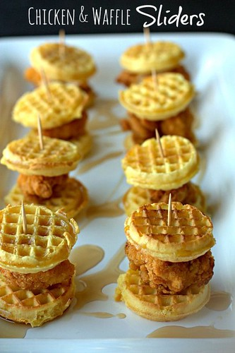 Popular & Trending Recipes 2017 / 2018 Chicken & Waffle Sliders with maple drizzle. #quickandeasy...