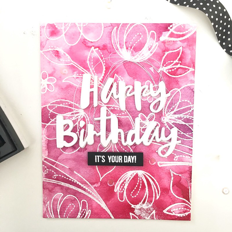 Happy birthday floral emboss resist