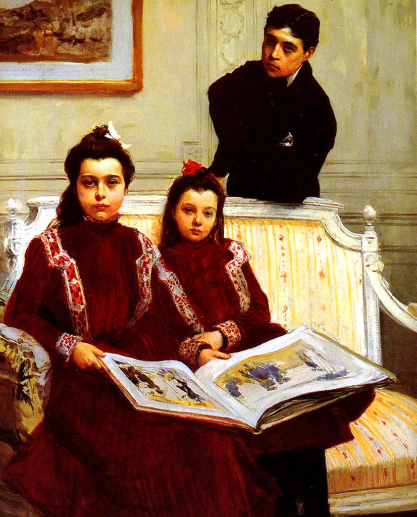 Family Portrait of a Boy and his two Sisters admiring a Sketch Book by Francois Flameng, 1900