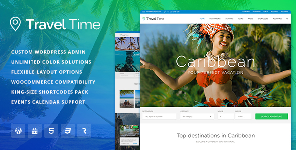 Travel Time v1.0.6 – Tour, Hotel and Vacation Travel WordPress Theme