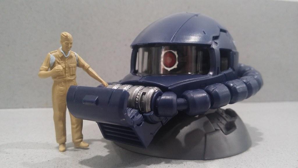 Exceed Zaku head next to Tamiya 1/35 figure.