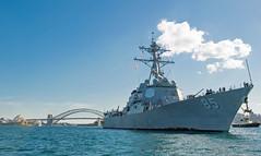 USS McCampbell (DDG 85) departs Sydney, July 27. (U.S. Navy/MC2 Jeremy Graham)