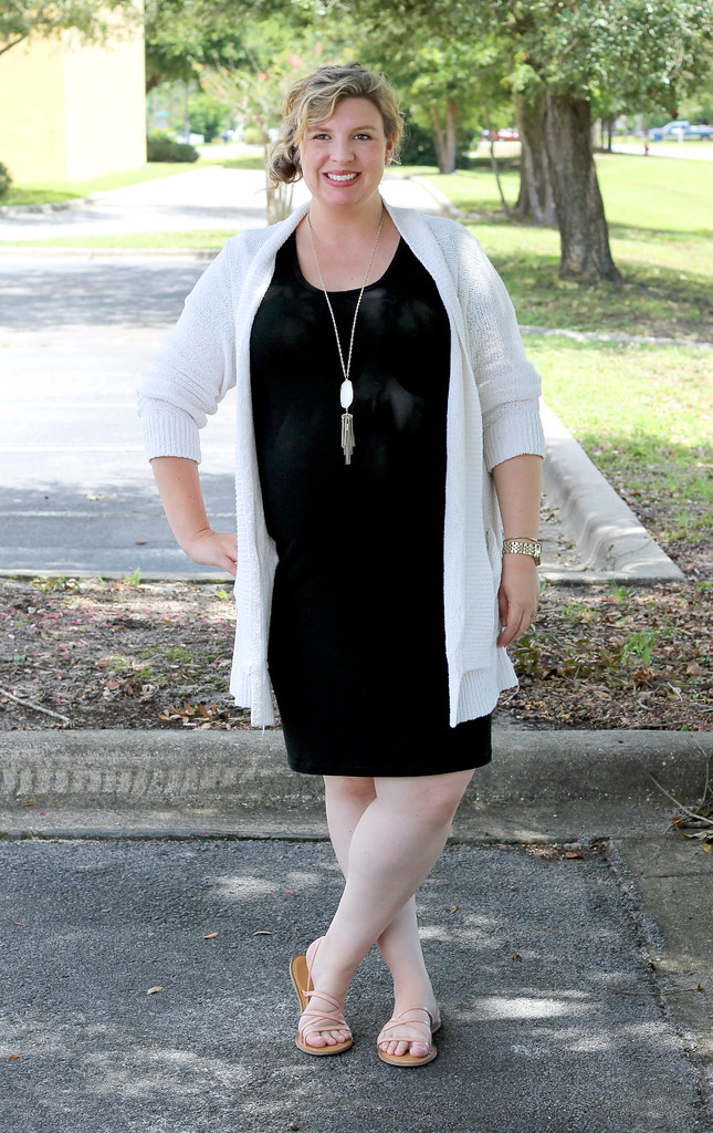 black maternity dress, cream open weave cardigan 5