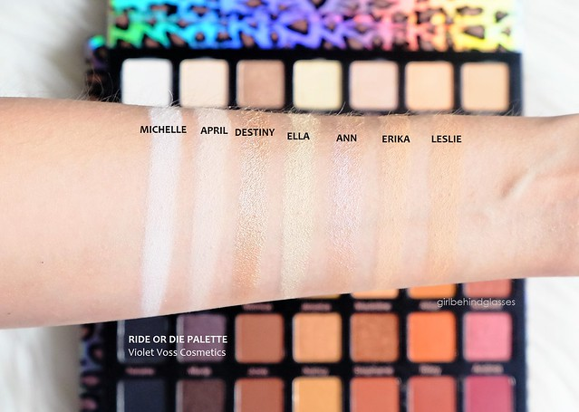 Violet Voss Cosmetics Ride or Die Palette Row 1 swatches