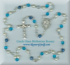 Aquamarine, Clear and Pearl Birthstone Rosary ~ March