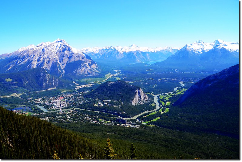 Banff and surrounding area from the Sulphur mountain Gondola