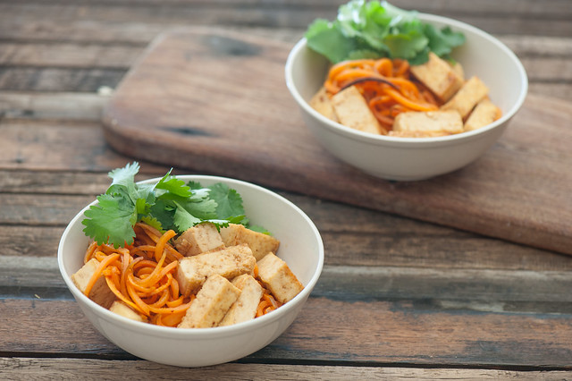 Soy & Honey Tofu with Sweet Potato Noodles