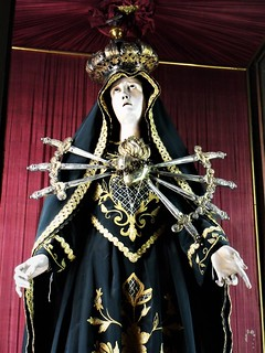"""Mater Dolorosa"" (=Sorrowful Virgin) - Wooden sculpture with embroidered dress - beginning 19th century - Santa Maria delle Grazie a Toledo Church in Naples"