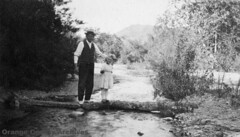 """""""Doris and her Papa"""" at the Fourth Crossing, Santiago Canyon, 1918"""