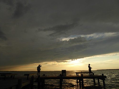 maryland chesapeakebay sunset sky water fishing silhouette pier ocean city clouds