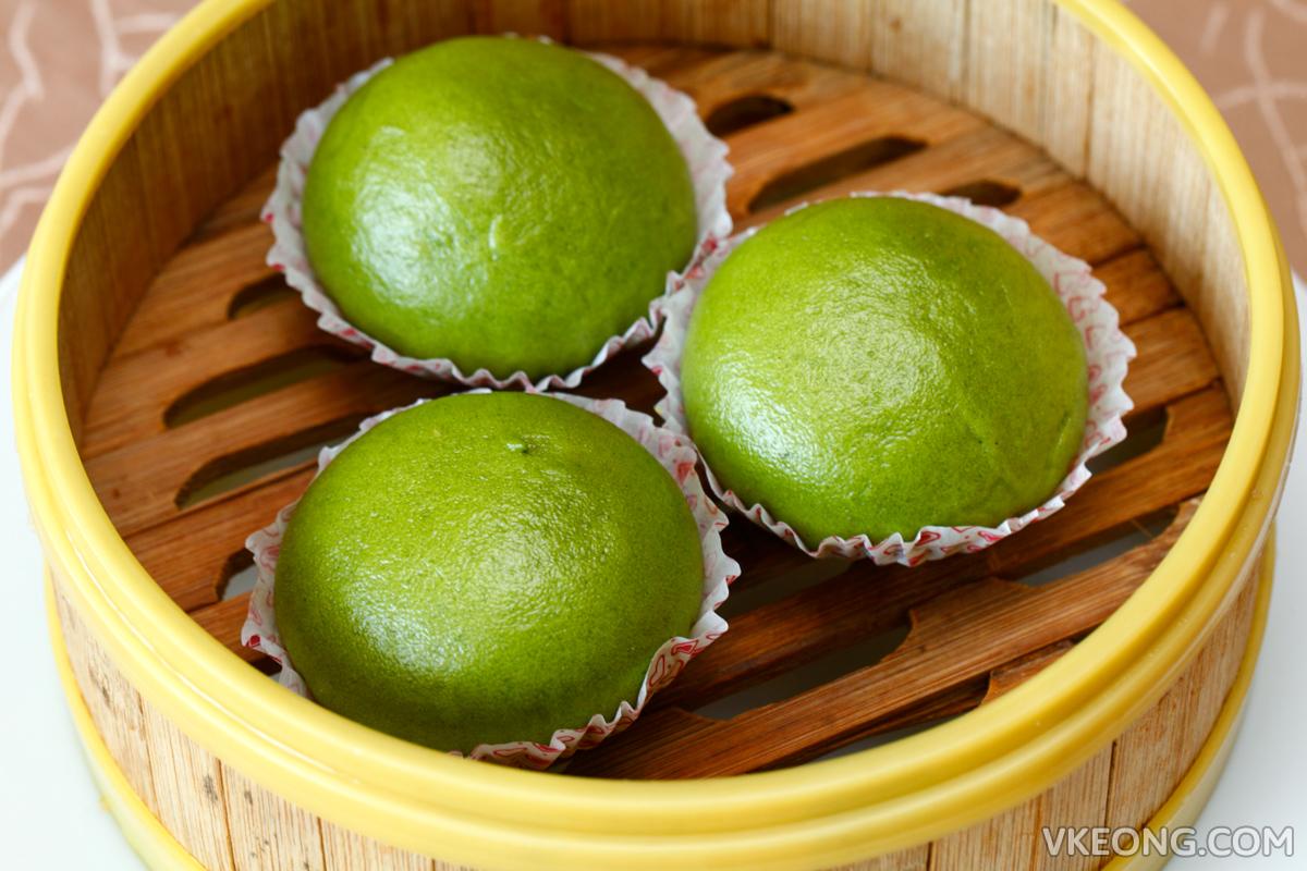 Green Tea Bun with Salted Egg Yolk Custard Cream