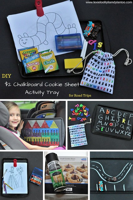 DIY $2 Chalkboard Cookie Sheet Travel Activity Tray + Play Ideas #RoadTrip #Vacation