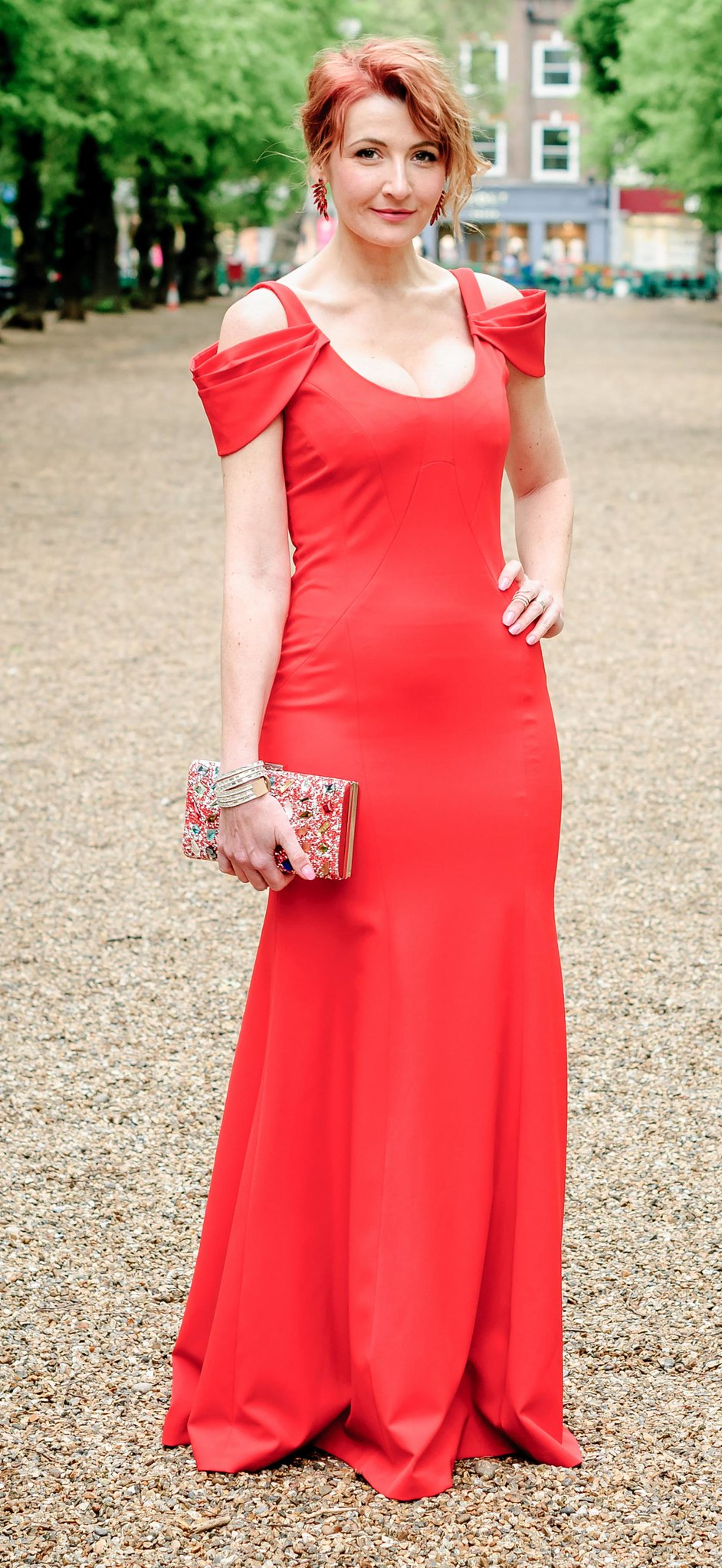 Awards ceremony outfit - Long red fitted gown with shoulder detail \ crystal embellished box clutch \ red crystal earrings | Not Dressed As Lamb, over 40 style
