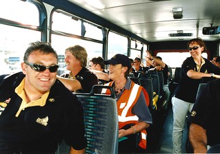 Team New Zealand on the bus arriving for the start of the America's Cup Parade 2000