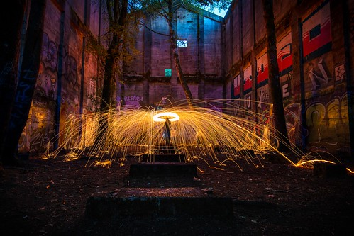 steel wool spin spark light painting lightpainting color slow shutter yellow fire hot canon self graffiti abandoned mill venonia logging log industry old historical creepy timmer nature trees