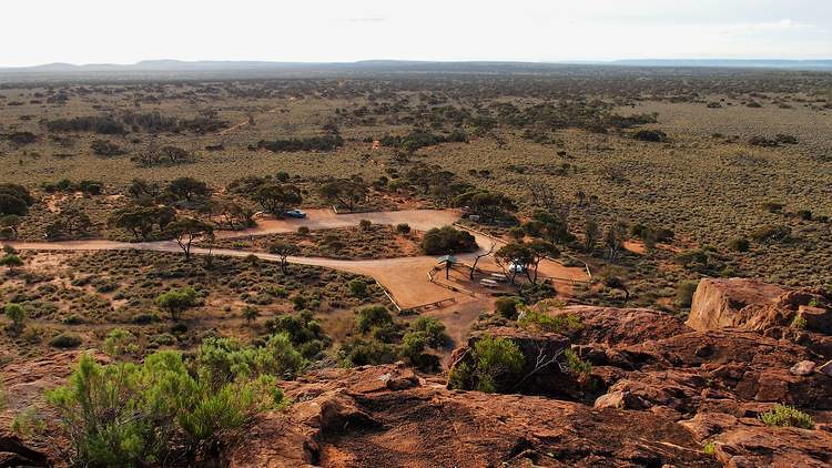 Carpark from Wild Dog Hill, Whyalla Conservation Park, South Australia