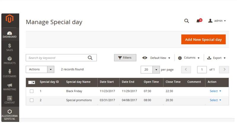 Magento 2 Extensie Afhaalpunt kiezen, Beheer speciale dagen
