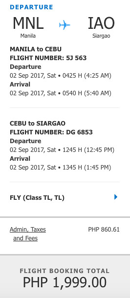 Manila to Siargao Promo Sept 2, 2017