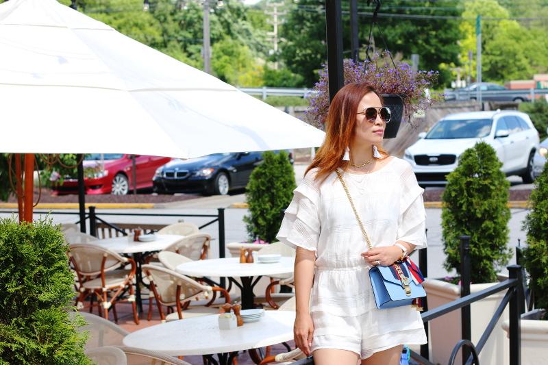 white-romper-blue-gucci-sylvie-bag-mirrored-sunglasses-7